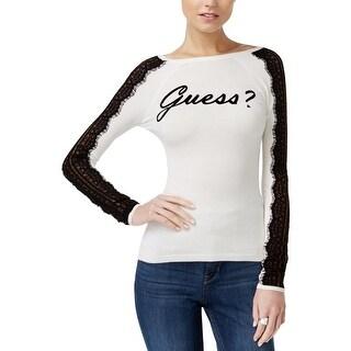 Guess Womens T-Shirt Signature Lace Trim