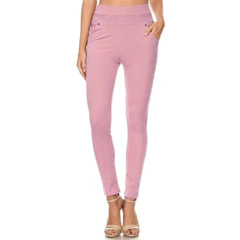Women's Casual High Waist Solid Banded Skinny Pants