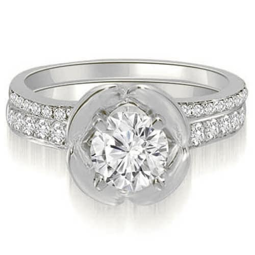 1.50 cttw. 14K White Gold Round Cut Diamond Bridal Set