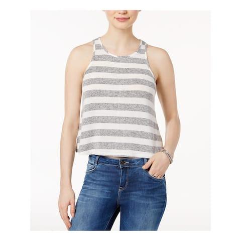 BAR III Womens Gray Striped Sleeveless Jewel Neck Top Size XL