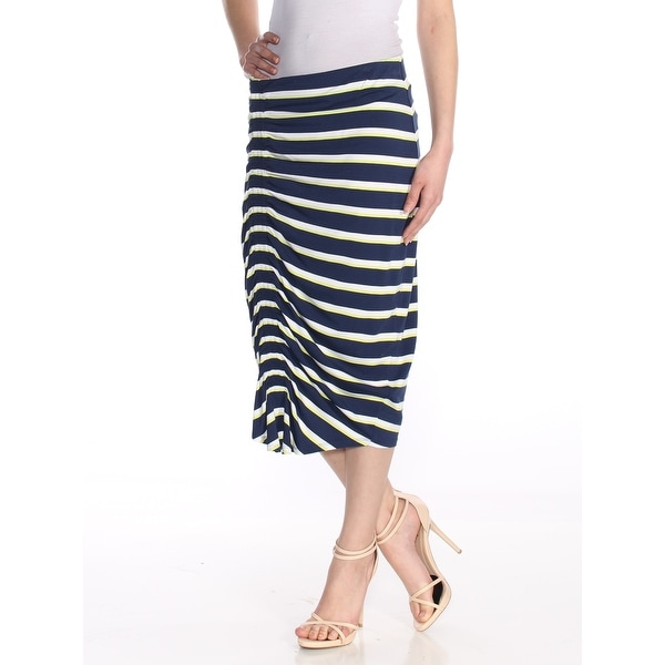 606597d59d48dc Shop VINCE CAMUTO Womens Navy Ruched Below The Knee Pencil Skirt Size: XS -  On Sale - Free Shipping On Orders Over $45 - Overstock - 27972750