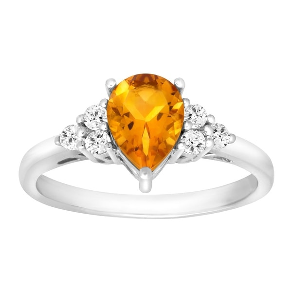 1 1/5 ct Natural Citrine & White Topaz Ring in Sterling Silver - Yellow
