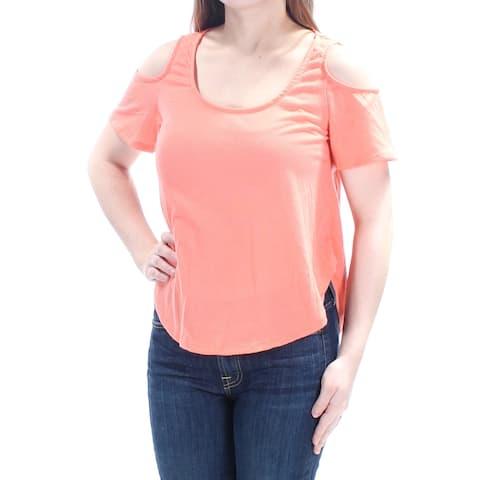 BELLE DU JOUR Womens Coral Cold Shoulder Lace Short Sleeve Scoop Neck Top Size: XS