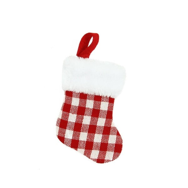 """7"""" Red and White Gingham Print Christmas Stocking with White Faux Fur Cuff"""