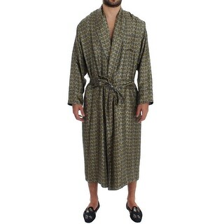 Dolce & Gabbana Dolce & Gabbana Green Chair Print SILK Robe Coat Nightgown - S