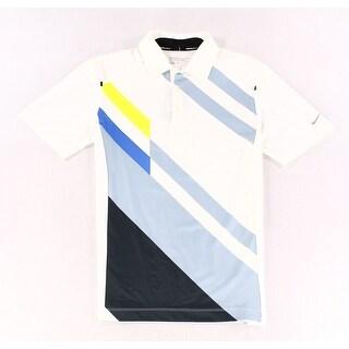 Nike NEW White Blue Mens Size Small S Dri-Fit Stripe Golf Polo Shirt