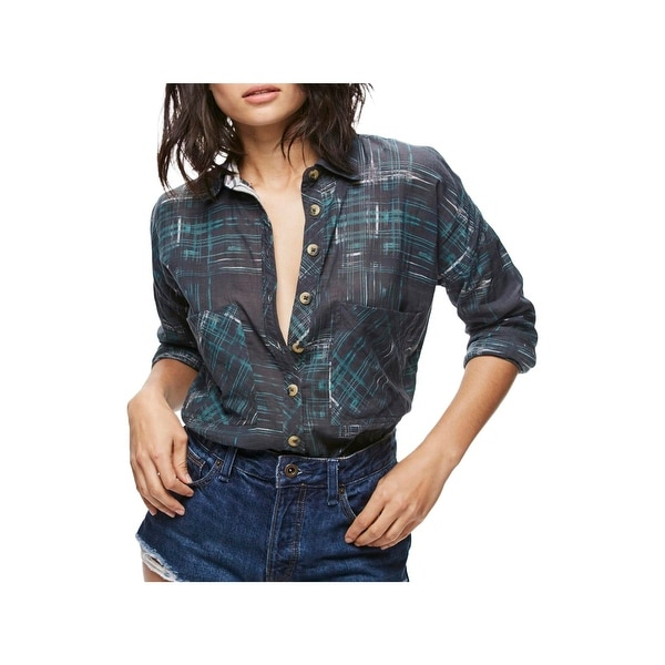 Free People Womens Button-Down Top Long Sleeves Printed