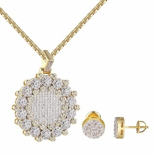 "Cluster Solitaire Medallion Pendant 14k Gold Tone 1.4"" Charm Earrings Combo"