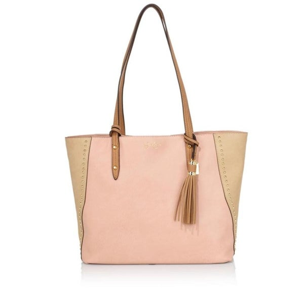 Jessica Simpson Womens Carole Tote Handbag Faux Leather Studded - Large