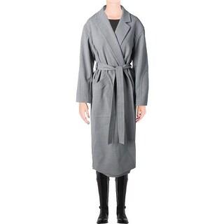 DKNY Womens Trench Coat Heathered Notch Collar