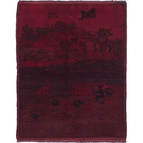 ECARPETGALLERY Hand-knotted Color Transition Burgundy, Red Wool Rug - 4'1 x 5'11