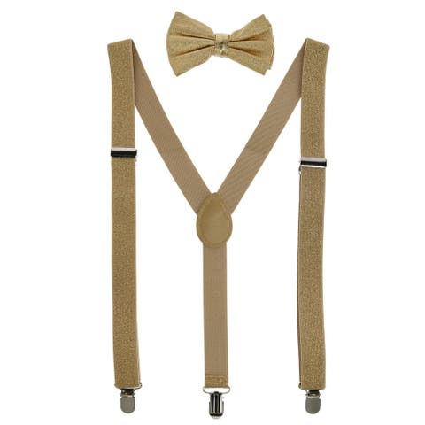 CTM® Glitter Gold Bow Tie and Suspender Set - one size