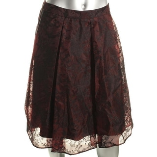 Aqua Womens Lace Pleated A-Line Skirt