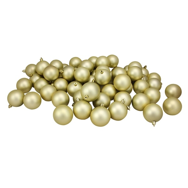 """60ct Champagne Gold Shatterproof Matte Christmas Ball Ornaments 2.5"""" (60mm)"""
