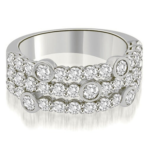 2.20 cttw. 14K White Gold Three-Row Round Cut Diamond Wedding Ring