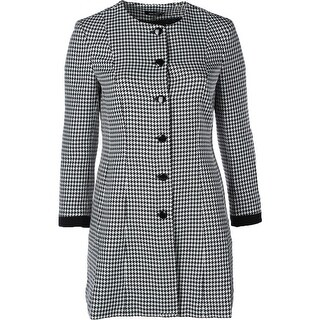 Nine West Womens Trench Coat Houndstooth Textured - 16
