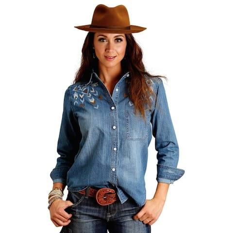 Stetson Western Shirt Womens Long Sleeve Denim - L