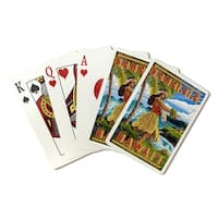Honolulu, Hawaii - Hula Girl on Coast - LP Artwork (Poker Playing Cards Deck) - Playing Cards Deck