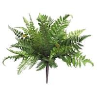 "Club Pack of 12 Springtime Artificial Wispy Mixed Fern Bush 17"" - Green"