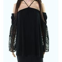 The Vanity Room Womens Lace Sleeve Cold Shoulder Blouse