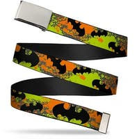 Blank Chrome  Buckle Bat Signals Gray Orange Yellow Black Webbing Web Belt