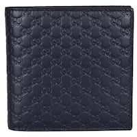 "Gucci Men's 150413 Blue Leather Micro GG Guccissima W/Coin Bifold Wallet - 4.25""  x 4"""