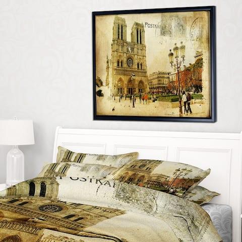 Designart 'Notre Dame Cathedral Vintage Card' Contemporary Framed Canvas Art Print