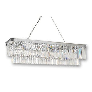 Retro Palladium Glass Fringe Rectangular Chandelier Lighting Chrome