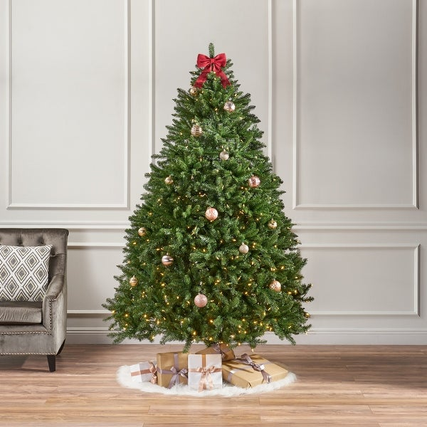7.5-foot Norway Spruce Pre-Lit Clear LED Hinged Artificial Christmas Tree by Christopher Knight Home. Opens flyout.