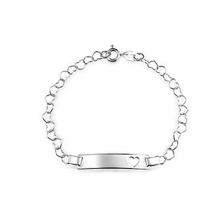Bling Jewelry Sterling Silver Open Heart Chain Baby ID Bracelet 6in