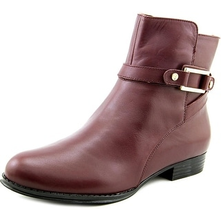 Isaac Mizrahi Tinker Women Round Toe Leather Burgundy Ankle Boot