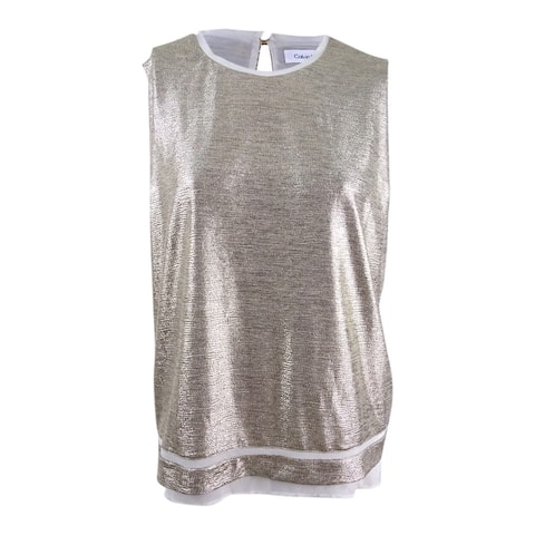 Calvin Klein Women's Petite Sleeveless Metallic Blouse