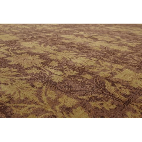 Hand-Knotted Botanical Brown,Gold Oriental Wool Transitional Oriental Area Rug (9x12) - 9' x 12'