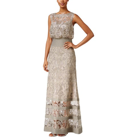 Tadashi Shoji Womens Evening Dress Metallic Embroidered