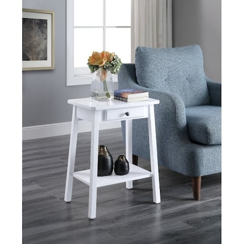 Q-Max Accent End Table with One Drawer and Open Shelf in White Finish