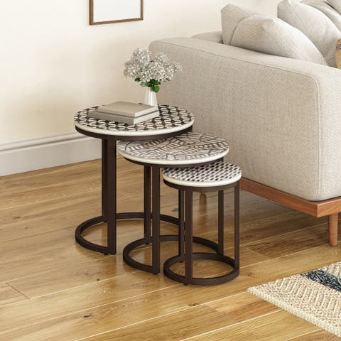 The Curated Nomad Pauletta Round Wood Hand-Carved Nesting Side Tables