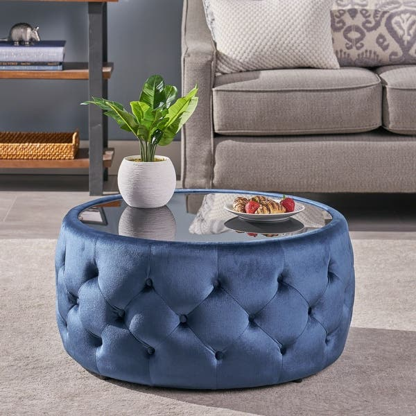 30 Cobalt Blue And Black Contemporary Coffee Table Ottoman Overstock 30314352