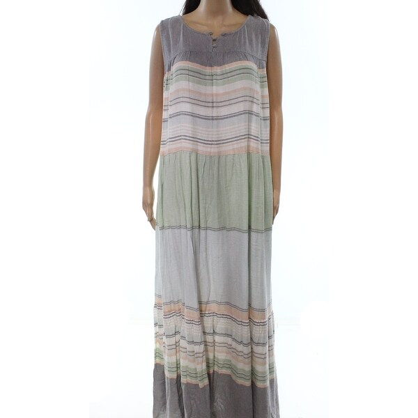 Caslon Gray Green Womens Size 1X Plus Striped Tiered Maxi Dress