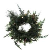 136 Foliage Tips Pre-Lit Holiday Wreath w/Red Berries and Pine Cones 15 in.