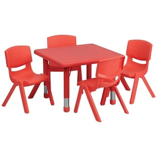 Offex 24'' Square Adjustable Red Plastic Activity Table Set with 4 School Stack Chairs