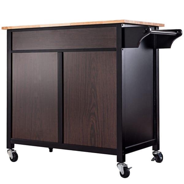 Shop Costway Rolling Kitchen Cart Island Wood Top Storage ...