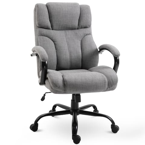 Vinsetto Ergonomic Office Chair with Wheel Linen Style Fabric Swivel 500lbs
