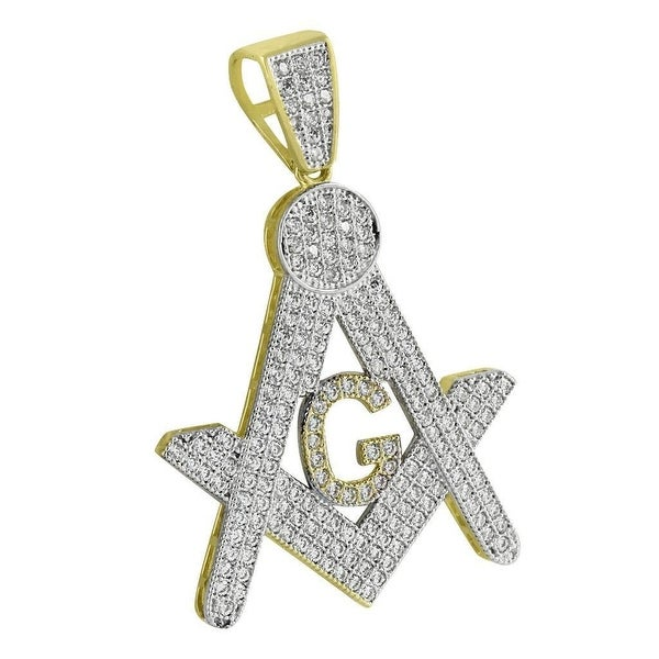 Masonic G Freemason Pendant Yellow Gold Tone Iced Out Lab Diamonds 1.7 IN