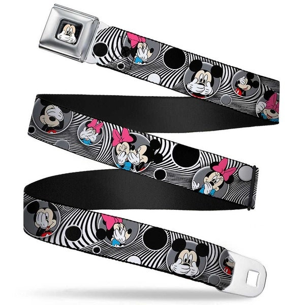 Mickey Mouse Expression3 Full Color Black Mickey & Minnie Peek A Boo Seatbelt Belt