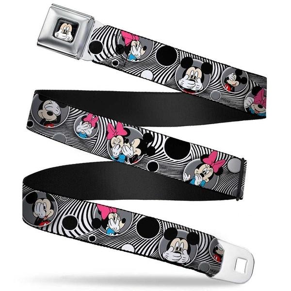 Mickey Mouse Expression3 Full Color Black Mickey & Minnie Peek A Boo Seatbelt Belt