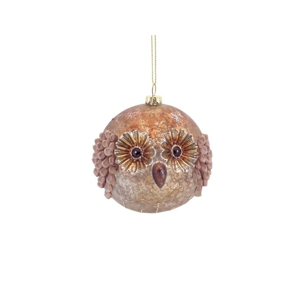 "3.5"" Winter Light Gold Woodland Owl Mercury Glass Ball Christmas Ornament"