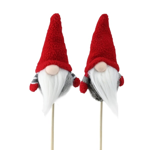 Set of 2 Tiny Gray Faux Fur Christmas Santa Gnomes on a Stick 11.5""