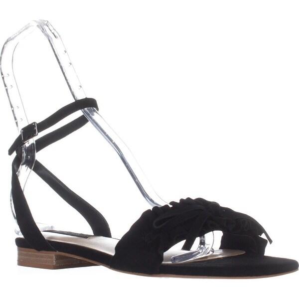 STEVEN Steve Madden Cassiel Flat Sandals, Black Suede