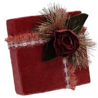 """6.75"""" Nature's Luxury Dark Rose Gold Floral Accent Christmas Gift Box Decoration"""