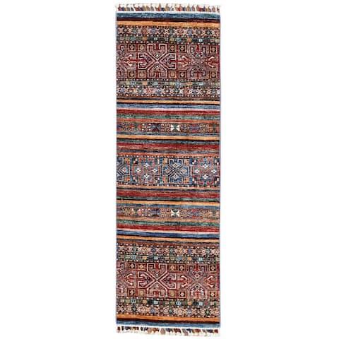 "Shahbanu Rugs Red With Colorful Tassels Hand Knotted Super Kazak Khorjin Design Organic Wool Oriental Runner Rug (2'0"" x 6'0"")"
